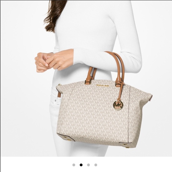 d9d159768aa7 Michael Kors Bags | Pretty Riley Vanilla Mk Logo Satchel | Poshmark